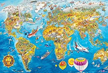 Schmidt world map jigsaw 200 pieces amazon toys games schmidt world map jigsaw 200 pieces gumiabroncs