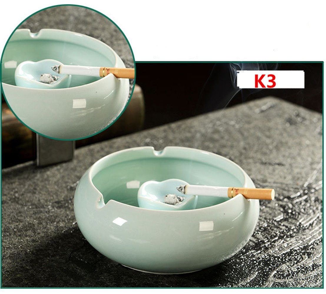 Kinger_Home Ceramic ashtray,Classical,Ash Holder for Smokers, Desktop Smoking Ash Tray for Home office Decoration(TC-1) (Celadon)