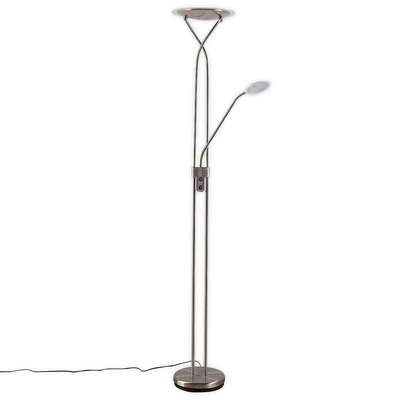 Lampenwelt LED Stehlampe 'Selina' (Modern) in Alu aus Metall u.a. für Wohnzimmer & Esszimmer (2 flammig, A+, inkl. Leuchtmittel)   Wohnzimmerlampe, Stehleuchte, Floor Lamp, Deckenfluter, Standleuchte