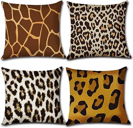 Cuscini Leopardati.Gcisa Federa Per Cuscino Colorata Confezione Da 4 Leopardati
