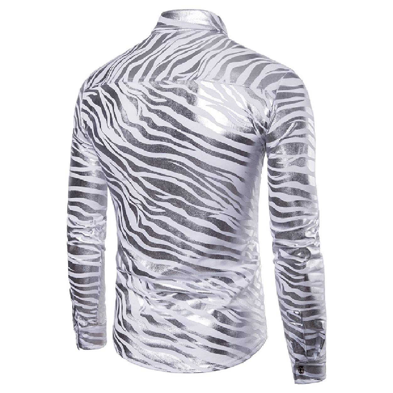 Abetteric Mens Long Sleeve Botton Front Trim-Fit Clubwear Dress Shirts