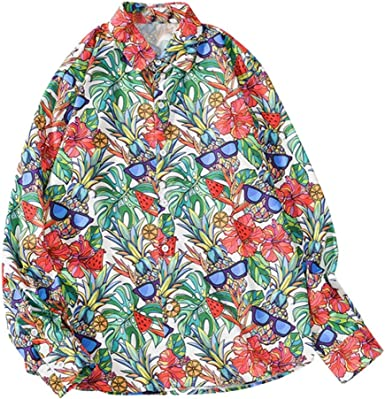 Camisas Hombre Manga Larga Camisetas Hombre Originales Camisas Hawaianas Hombre Ocio Suelto Camisas de Manga Larga con Impresa de Moda de otoño para Hombre Funky Camisa Hawaiana Verde: Amazon.es: Ropa y accesorios