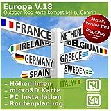 Europa V.18 - Profi Outdoor Topo Karte - Topografische Europakarte kompatibel zu Garmin Navigation - Zum Wandern, Geocachen, Bergsteigen, Radfahren, Radtour