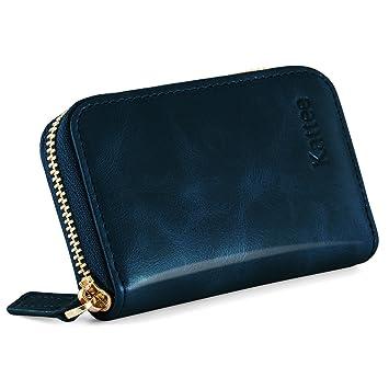 0435527500125 Kattee Damen echtes Leder Geldbörse Kreditkartenhalter RFID Blocking Zipper  Geldbeutel Kreditkartenetui Kreditkartentaschen Blau