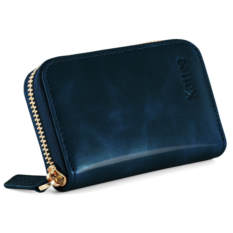 Kattee Leather Zip Around Wallet, Women's RFID Credit Card Small Wallet Blue
