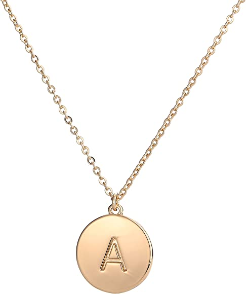 e2c71f3fd1 Copper Initial Necklace Women 26 Letters Disc Monogram Chain Necklace  Jewelry Gift Her