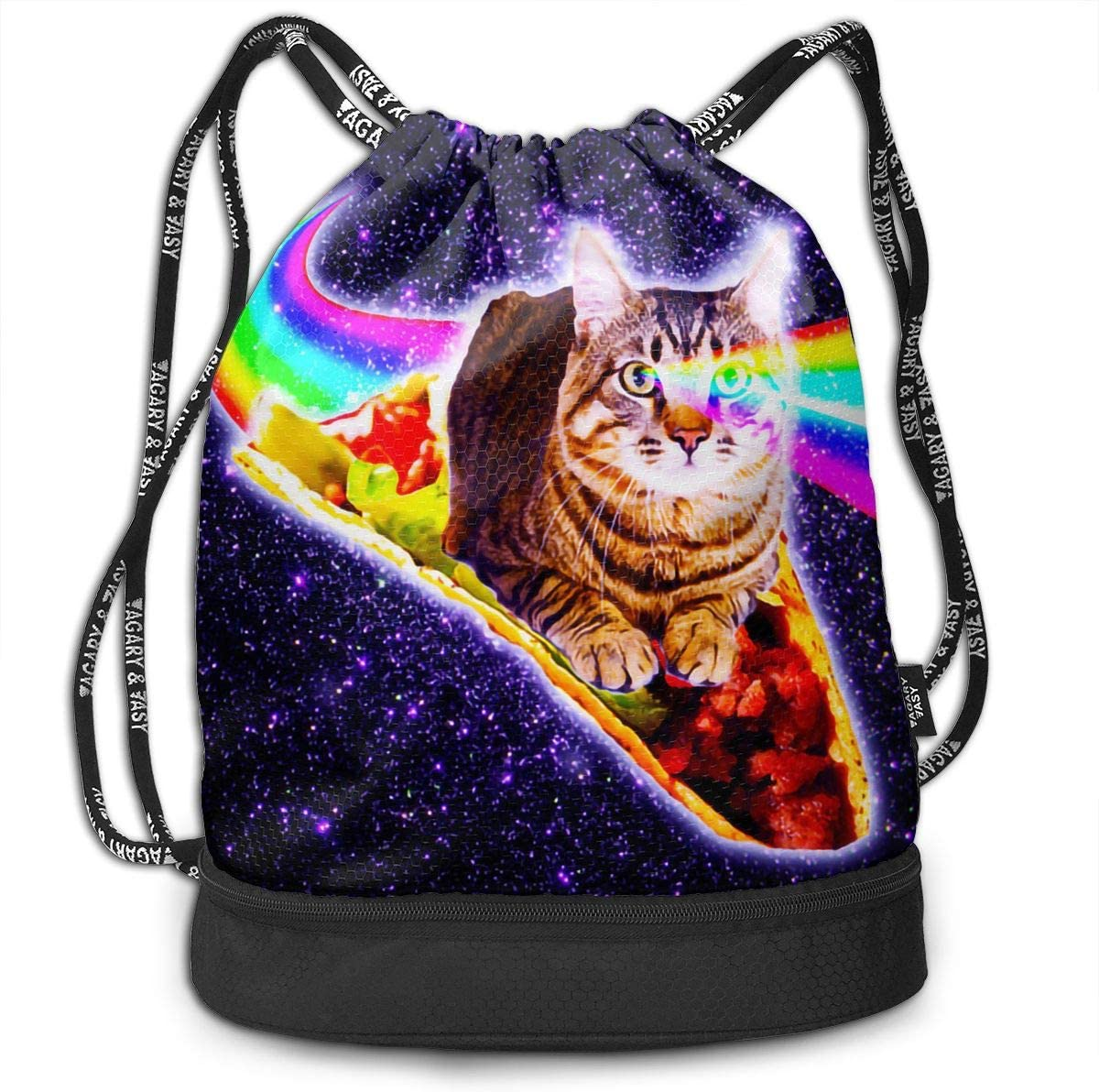 Drawstring Backpack Space Cat With Taco And Pizza Gym Bag