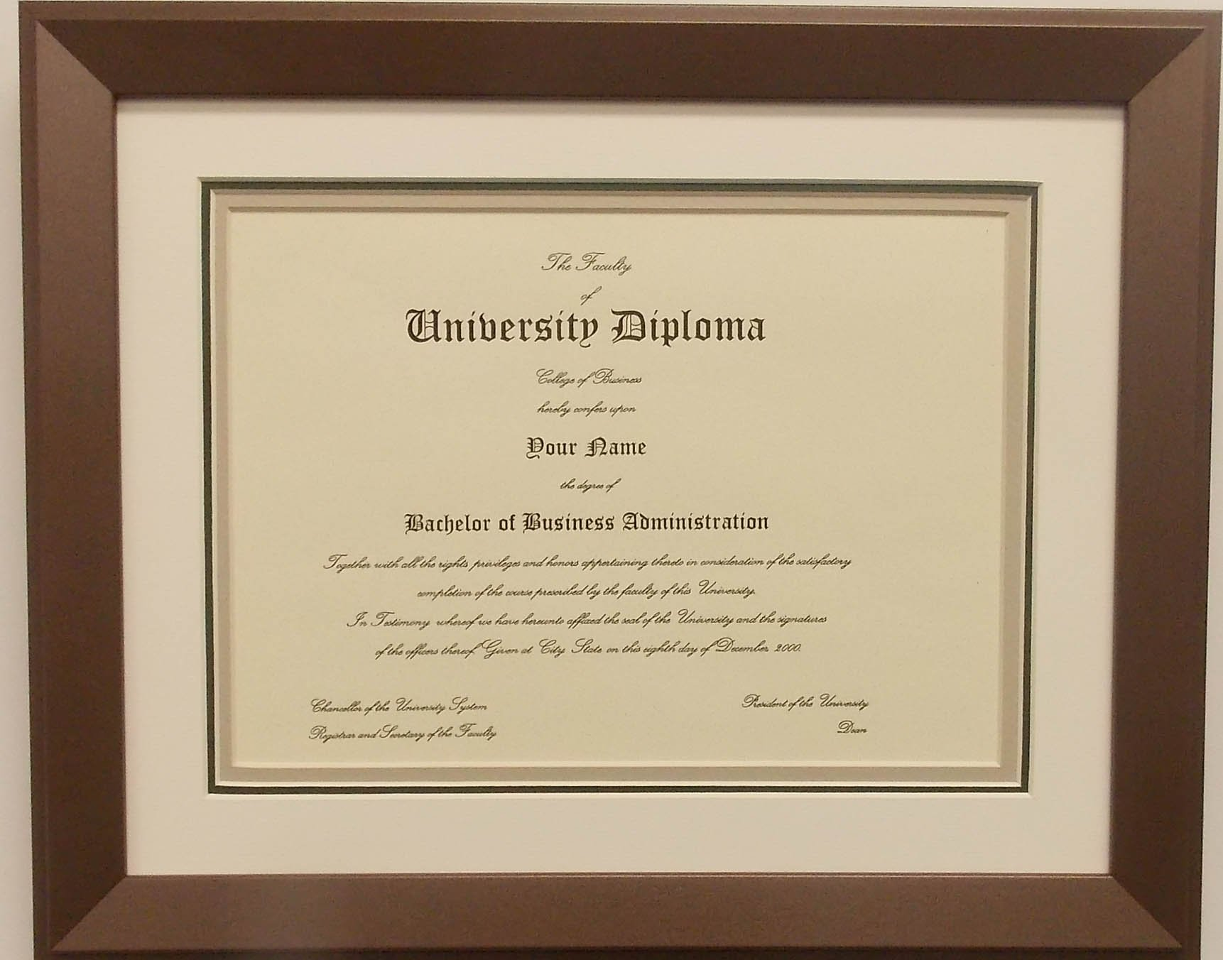 Graduation Diploma College or University 8-1/2 X11 Certificate Document Triple Matted Bronze Frame