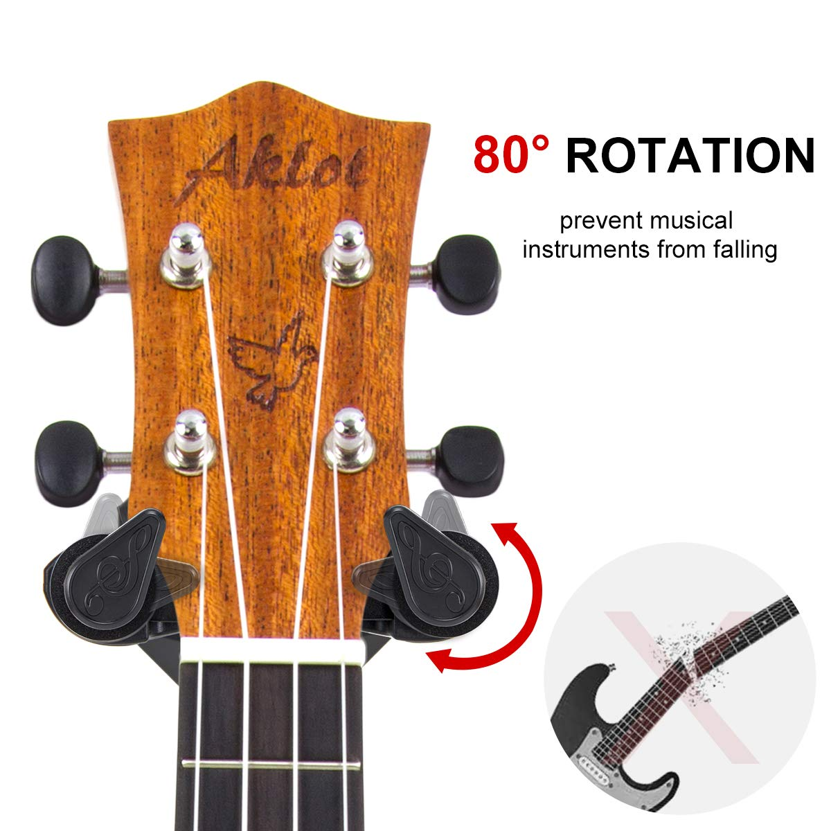 Ukulele Hanger Wall Mount Hook Holder For Ukelele Guitar Banjo With