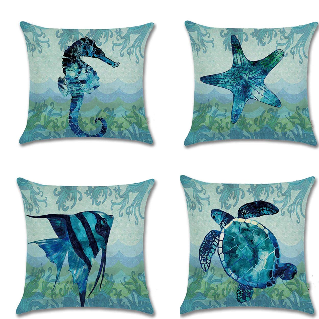"""Unibedding Beach Throw Pillow Case, Ocean Sea Theme Pillow Covers, Decorative Cotton Linen Coastal Cushion Cover, 4 Pack 18"""" X 18"""" forCouch Patio Furniture, Double Sides"""