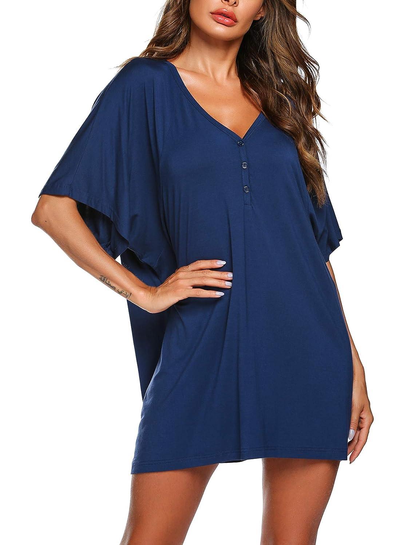 Pyjama Kleid Damen Nachthemd Tunika Kurzarm T-Shirt Kleid Sommer Nachtkleid Schwangere Schlafanzuge Plus Größe Schwarz Rot Blau