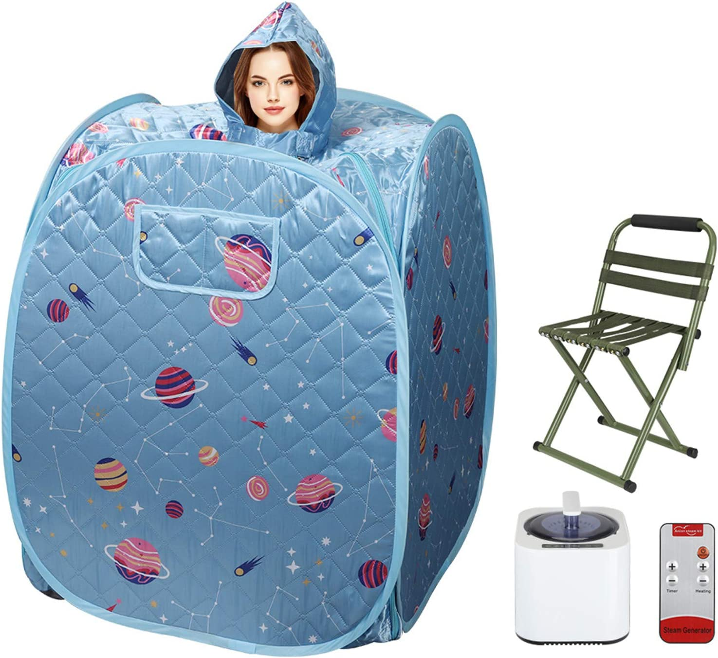 ETE ETMATE 2.2L Home Sauna Spa, Portable Collapsible Sauna Fumigation Machine with Storage Bag, Remote Control, Stool, for Weight Loss and Beauty Detoxification