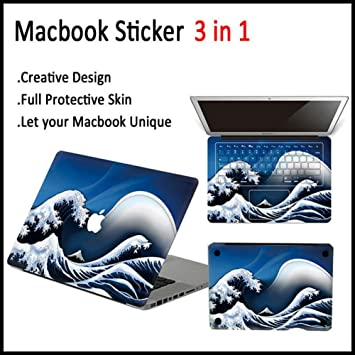 Parte superior Top para mar Wave vinilo adhesivo para Apple MacBook Pro Retina 13 adhesivo de vinilo (Full Cover Pegatina de Vinilo Para Mac para ordenador ...