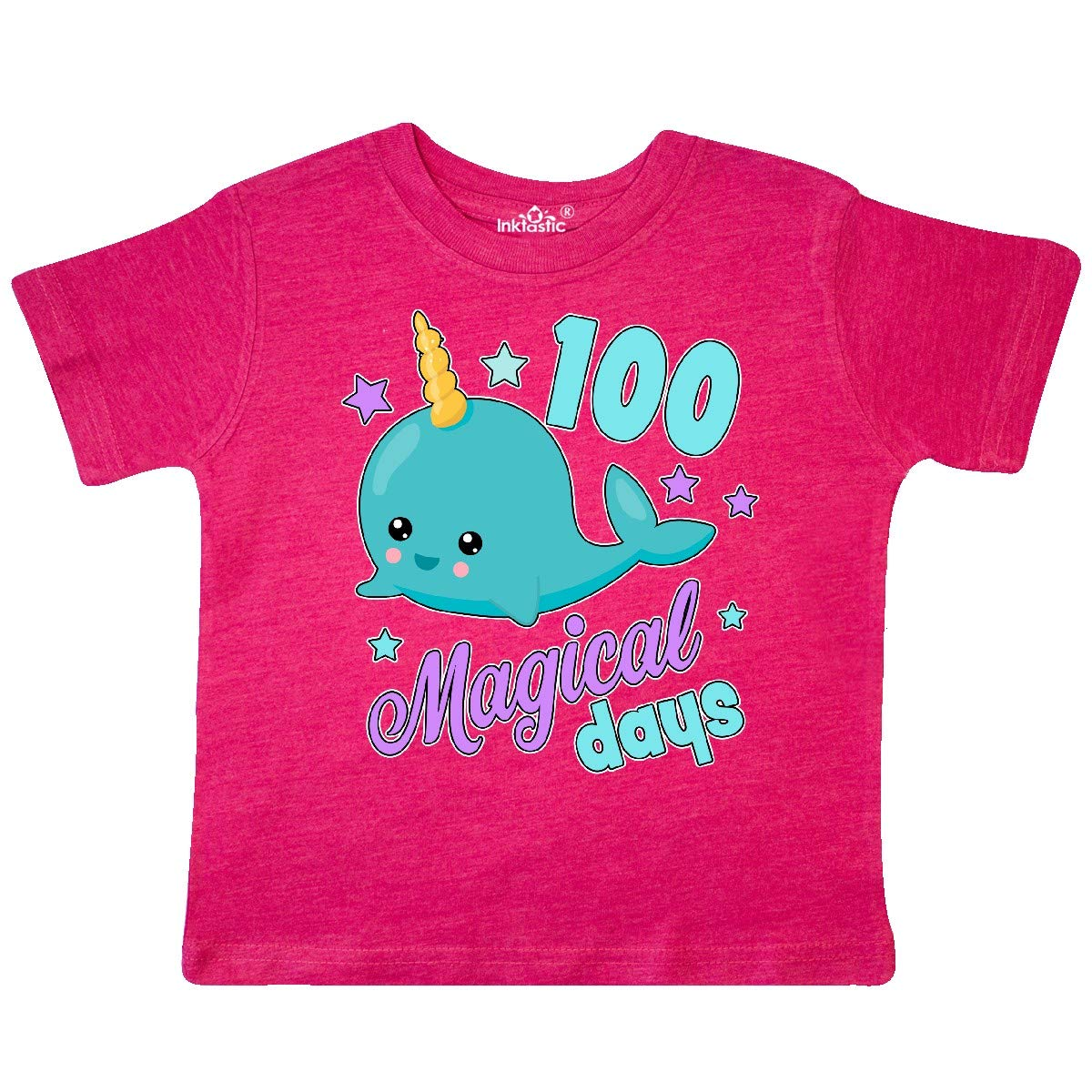 inktastic 100 Magical Days with Cute Narwhal Toddler T-Shirt