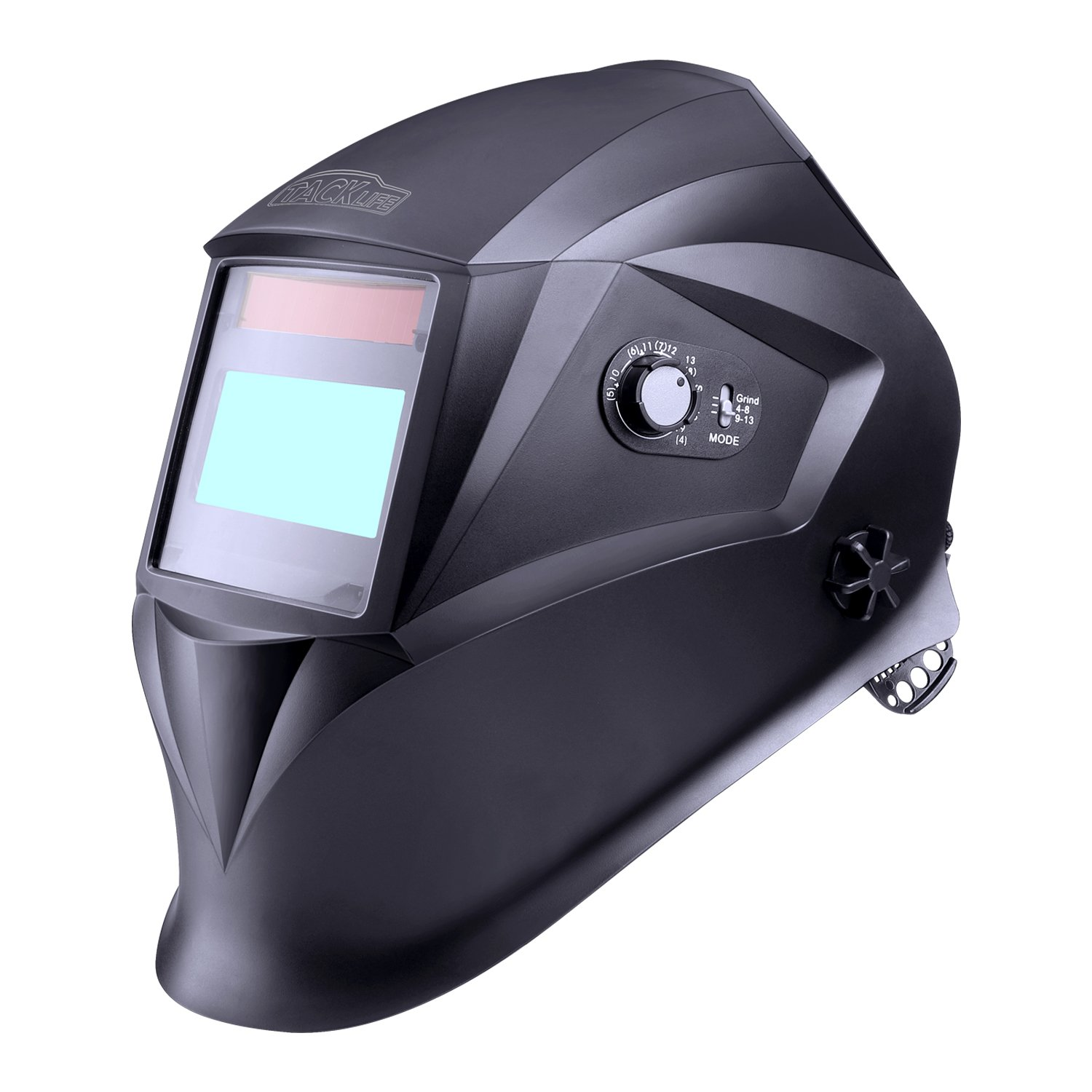 Tacklife Solar Powered Auto Darkening Welding Helmet with Top Optical Class 1/1/1/1, Full Shade Range 3/4-8/9-13, UV/IR Protection DIN 16, High-impact Resistant Polyamide Nylon Material - PAH04D