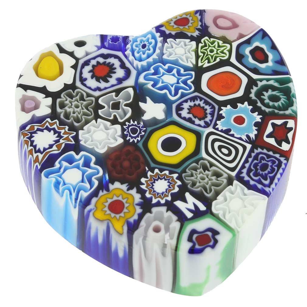 GlassOfVenice Murano Glass Millefiori Heart Paperweight - Medium