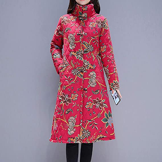 Amazon.com: AOJIAN Women Jacket Long Sleeve Outwear Vintage Folk-Custom Stand Neck Floral Print Button Maxi Coat: Clothing