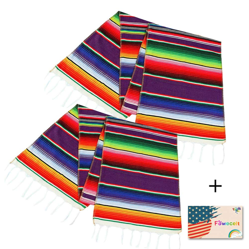 2 Pack Mexican Serape Table Runner 14 x 84 Inch for Mexican Party Wedding Decorations Outdoor Picnics Dining Table, Fringe Cotton Handwoven Table Runners by Focushow