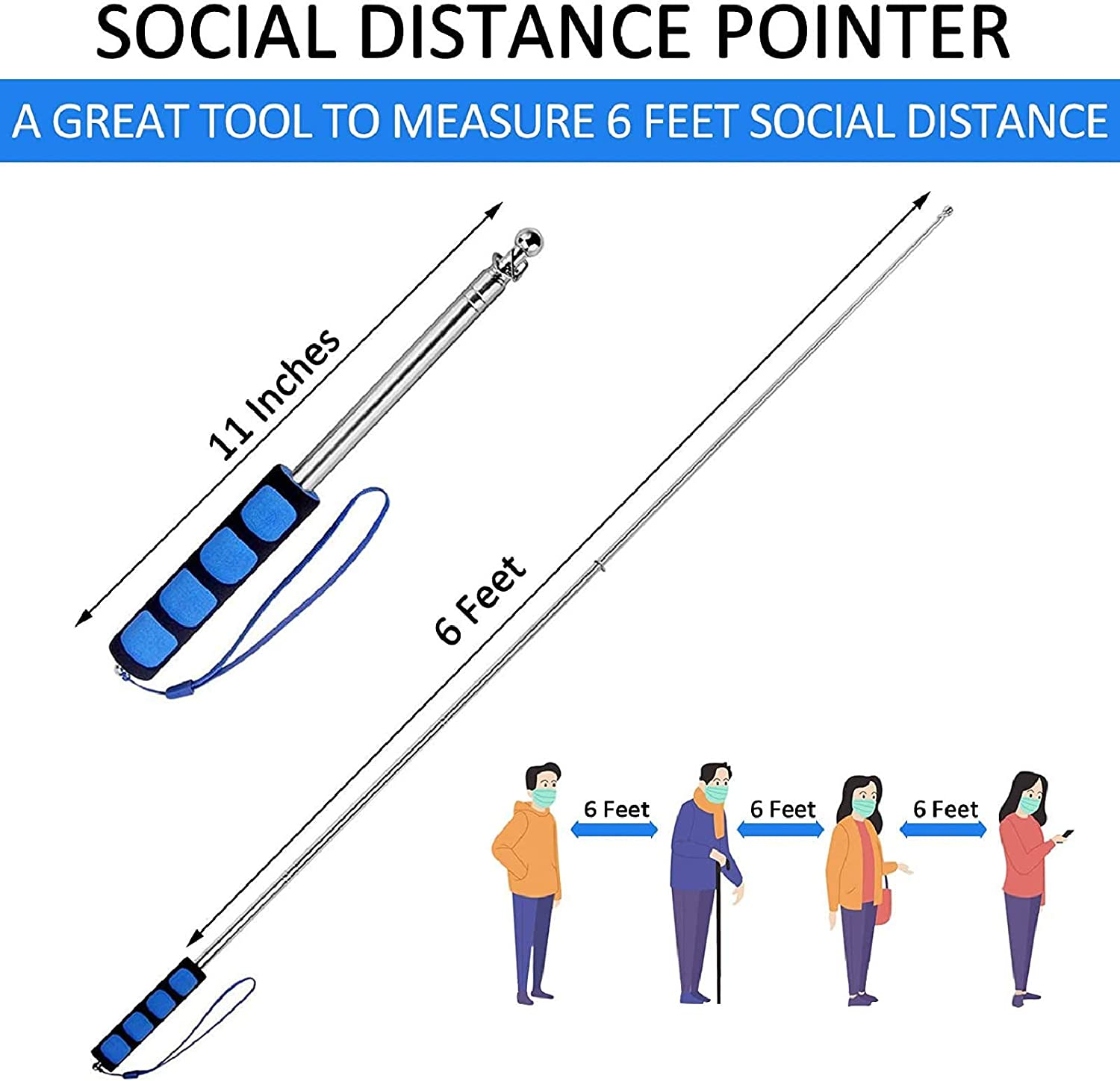 6 Feet Social Distancing Stick with Sign Flag,Retractable Social Pointer,Keep 6Ft Distance Ultimate Tool,Portable Retractable Handheld Measure Social Distance Telescopic Pointer Stick