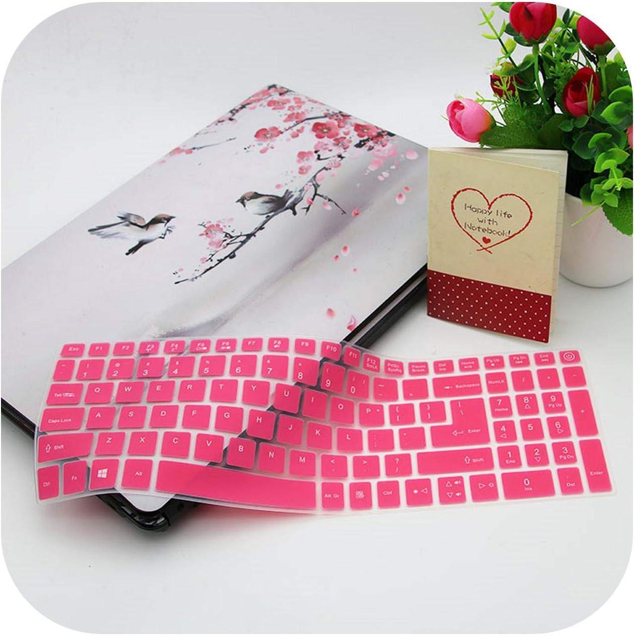 15.6 Inch Keyboard Silicone Keyboard Cover Protector Skin for Acer Aspire Vn7-592G Vn7-792G F15 F5-571 F5-573G E5-575G E5-772-Pink-