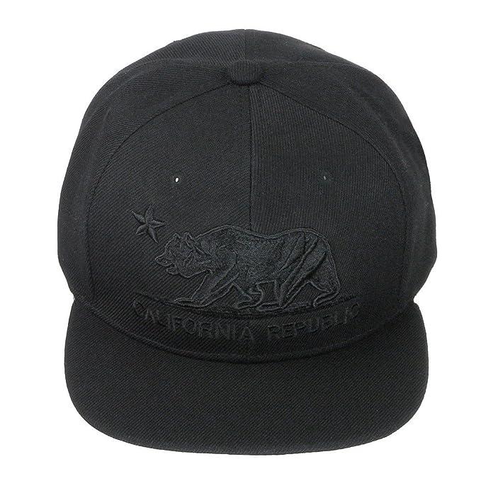 255b3dc20a08c California Republic Bear Logo Flat Brim Adjustable Snapback Hat Cap - All  Black