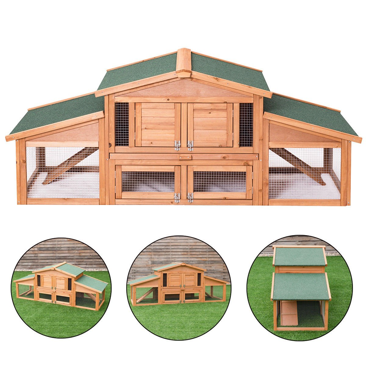 Tangkula 71'' Chicken Coop Outdoor Garden Backyard Large Wood Hen House Rabbit Hutch Poultry Cage with Run