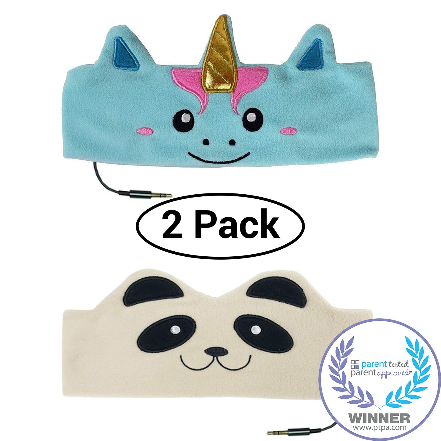 CozyPhones Kids Headphones Twin-Pack – (2PCS) Unicorn and Panda Combo - Children's Volume Limited Earphones for Home and Travel – Value Pack