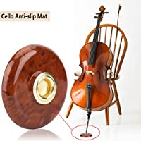 Cello Mat, Anti-Slip Cello Pad Plastic + Metal Holder Floor Protector Musical Instrument Accessory (Brown)