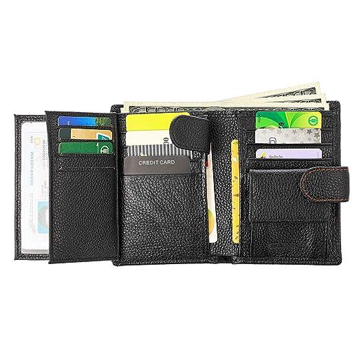 6b618a58b73a Mens Trifold Wallet Leather RFID Blocking Card Holder Coin Pocket 3 ID  Windows