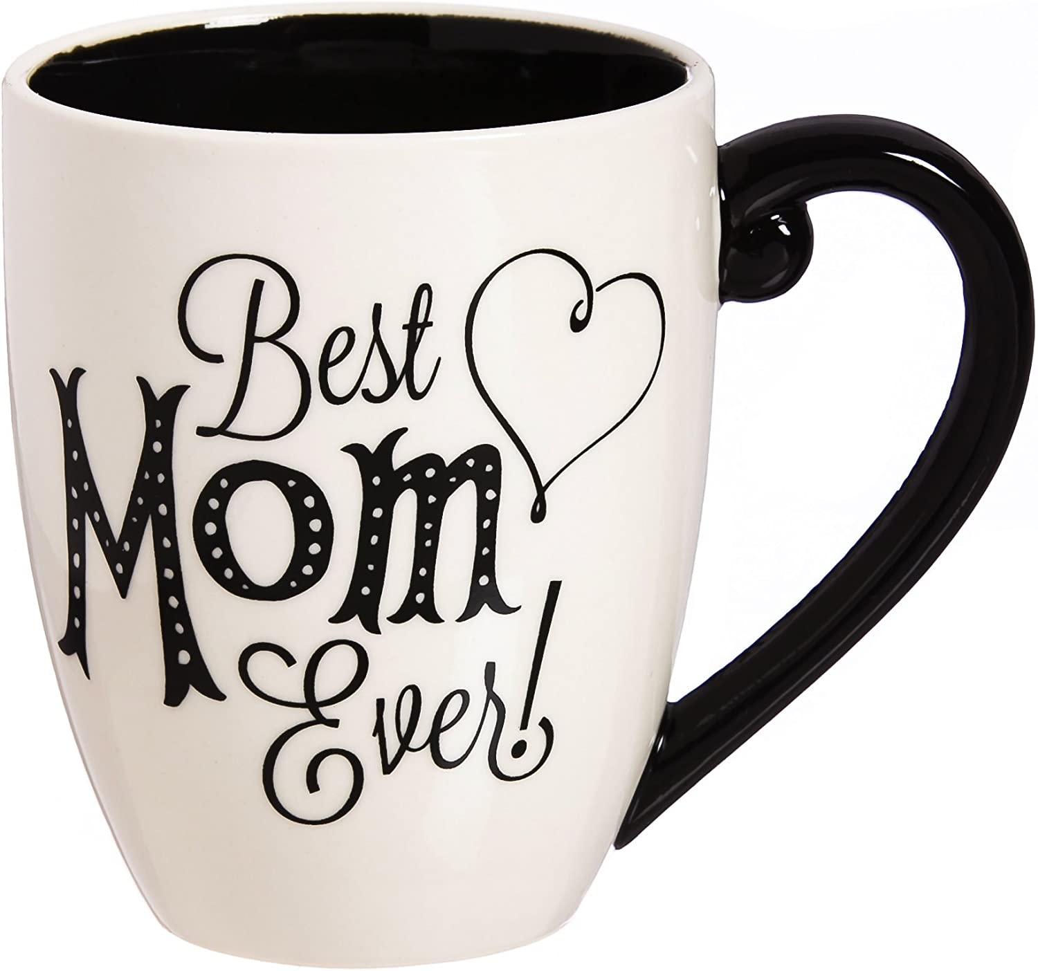 Cypress Home Beautiful Mom Black Ink Ceramic Cup O' Joe with Matching Box - 6 x 5 x 4 Inches Indoor/Outdoor home goods For Kitchens, Parties and Homes
