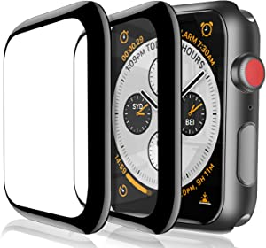 YMHM for Apple Watch 44mm Series 6/SE/5/4 Screen Protector, [2-Pack] Tempered Glass Film 3D Curved Black Edge Full Coverage Anti-Scratch Waterproof Compatible with iWatch SE/6/5/4
