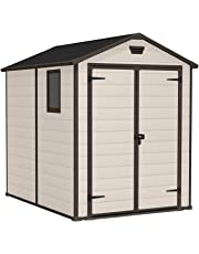 Keter Manor Large 6 x 5 ft Resin Outdoor Garden Storage Shed - Beige