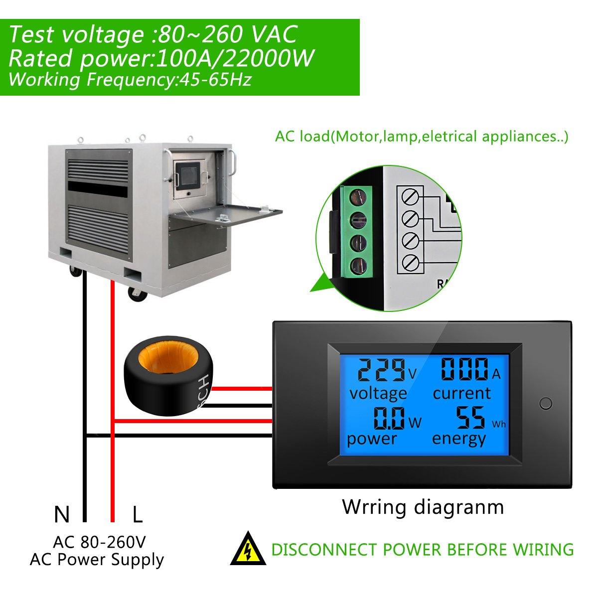 Elegiant Ac 80 260v 100a Digital Current Voltage Detector6400v Twopole Testermultifunction Circuit Amperage Lcd Power Panel Meter Energy Ammeter Voltmeter Dc Volt Amp Testing Gauge
