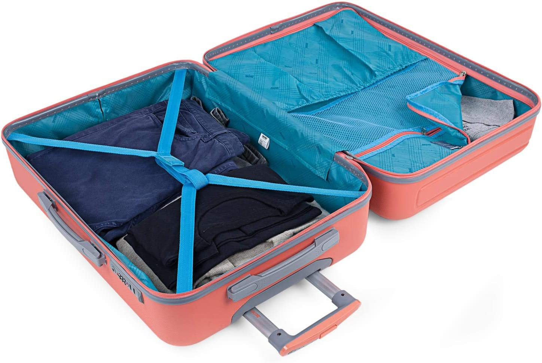 Candado TSA Juego de Maletas con USB de Viaje 4 Ruedas Trolley ABS Color Coral SKPAT 175000 Calidad y Dise/ño R/ígidas Duras Pr/ácticas C/ómodas y Ligeras Tama/ños Peque/ña Mediana y Grande