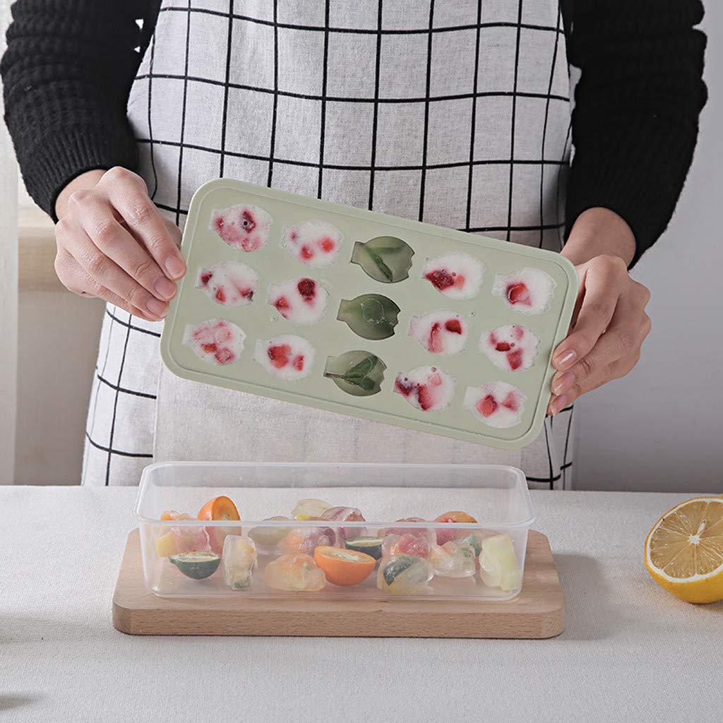 Fruit Shaped Small Ice Cube Tray Jelly Chocolate Mold Ice Cream Bar Mould Hot Ice Pop Molds Creative Homemade Ice Tray (22.5x12.5x5.7cm, Green)