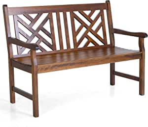 Sophia & William Outdoor Poplar Wood Bench Loveseat Walnut,Patio Wooden Bench with Backrest and Armrests PU Painting for Porch, Pool, Garden, Lawn, Balcony, Backyard, Load Capacity: 600 lbs, 1 Pack