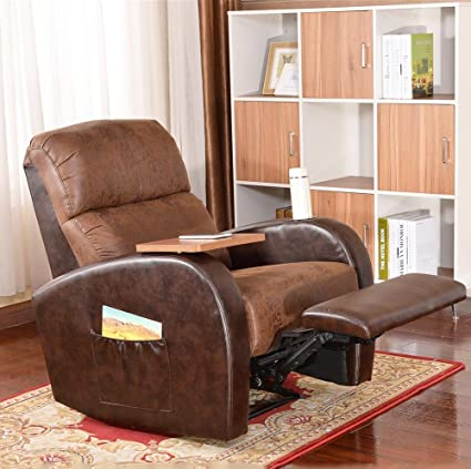 Soges Luxurious Manual Recliner Chair Lounge Sofa Home Theater Chair Living Room  Chair, Brown 535