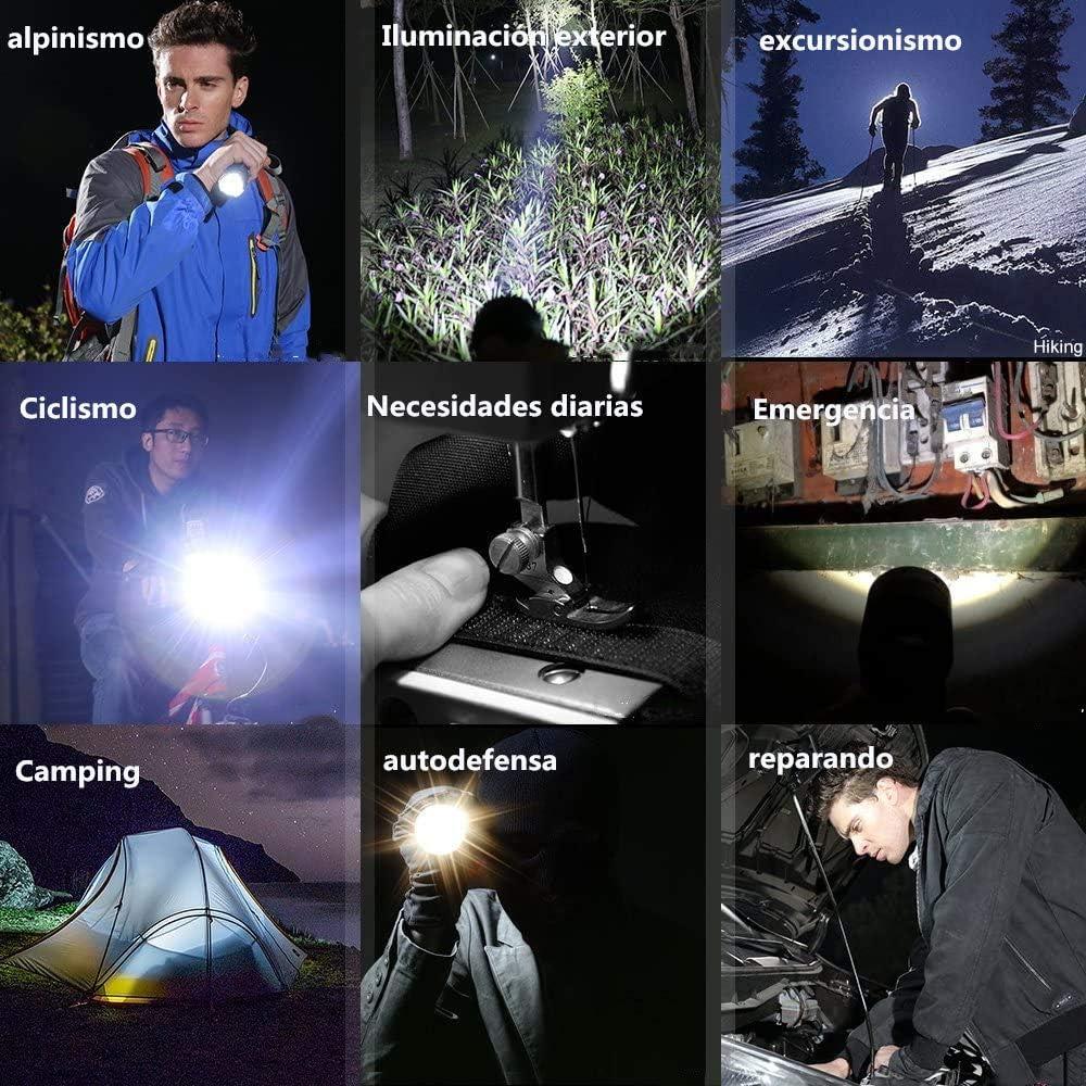 Linterna Super brillante de 5 Modos Peque/ña Linterna Impermeable de Mano para Ciclismo Monta/ñismo Camping MISSJJ Linterna LED Recargable