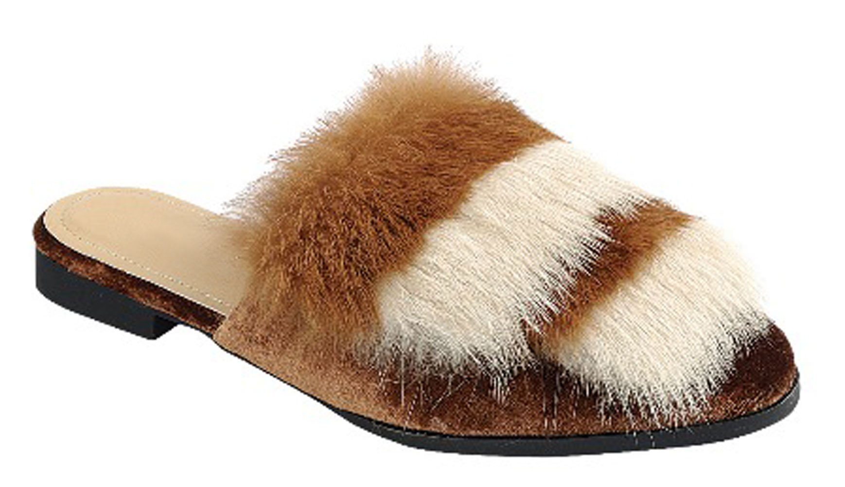Best Two Tone Tan Mule Fur Fuzzy Flat Heeled Closed Toe Slipon Designer Beach Fashion Ladies Sexy Adult House Bedroom Slipper Shoe Gift Idea Sale for Women Wife Teen Girl (Size 6.5, Tan)