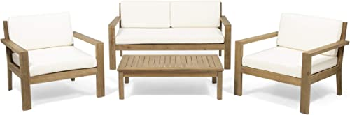 Great Deal Furniture Iris Outdoor 4 Seater Acacia Wood Chat Set