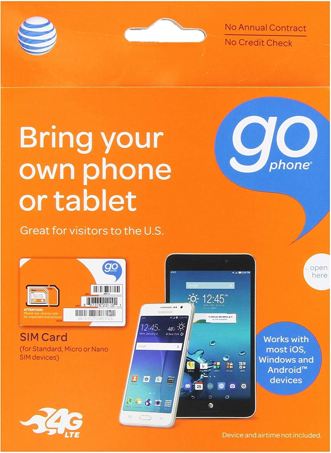 AT&T 3-in-1, Triple Cut Universal SIM Card Starter Kit for GoPhone Devices (No Annual Contract) packaging may vary