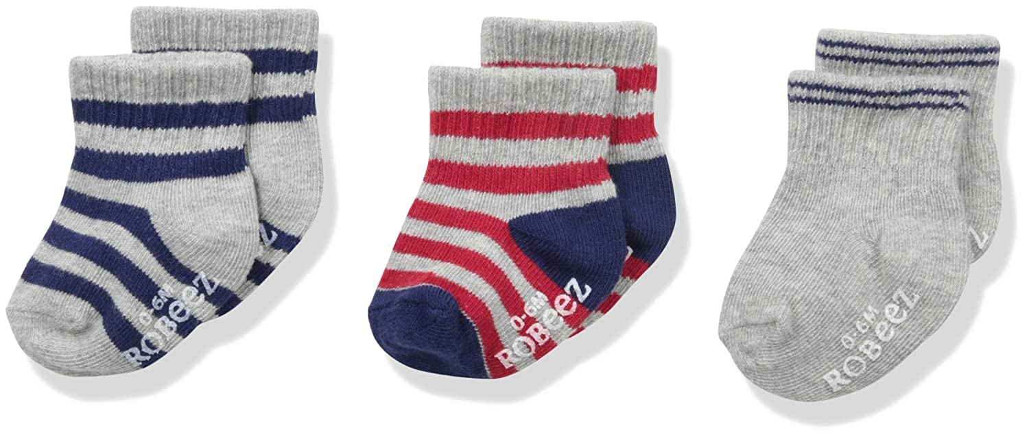 Robeez Boys 3pk Crew Socks, Cotton and Spandex Blend with Non Skid Application Robeez Children' s Apparel 3pk Fall 16 Boys Socks