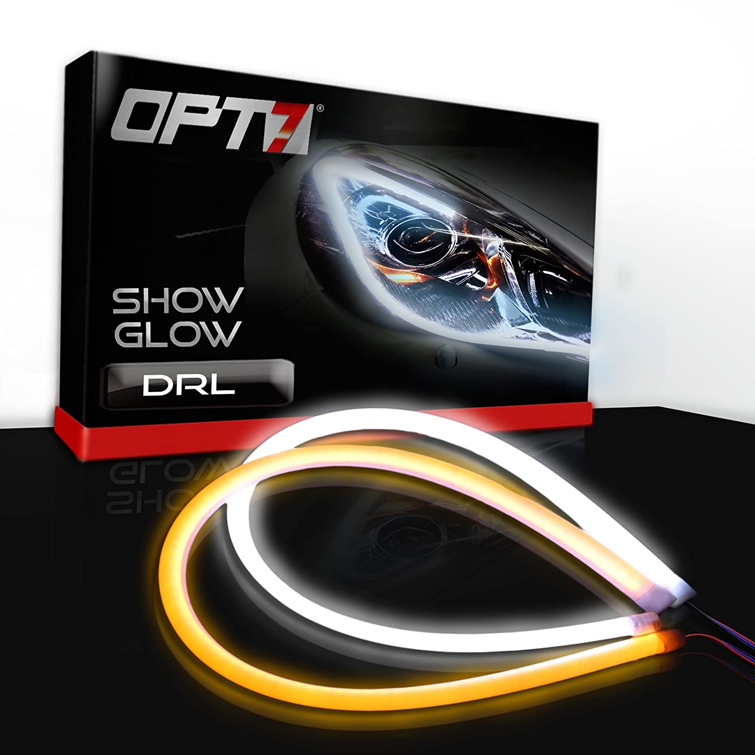 OPT7 Show Glow 20-Inch LED Headlight Liner DRL Tube with Switch-back Amber Turn Signal and White Accent Light