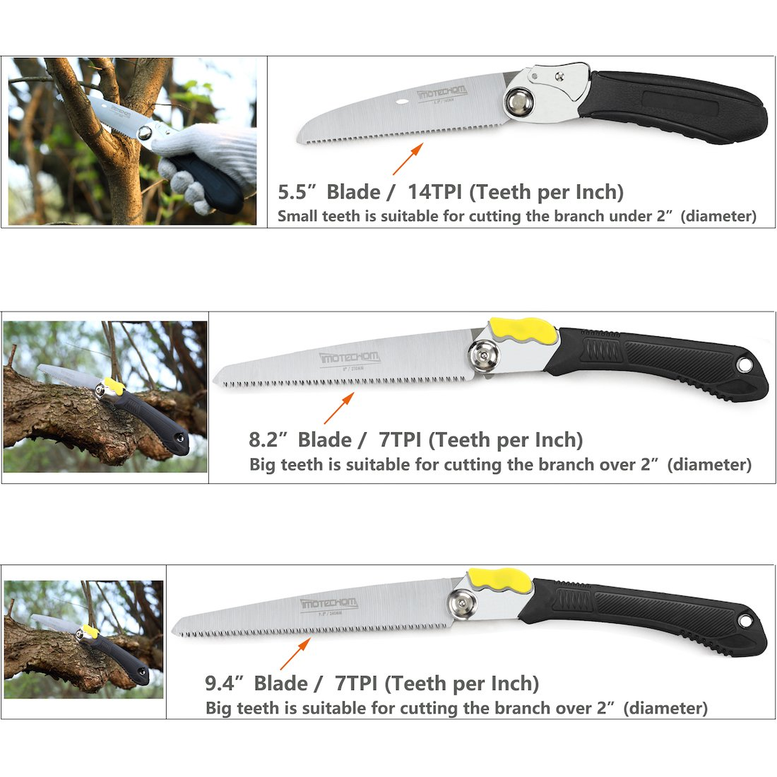 IMOTECHOM 8.2'' Folding Saw, 210MM Foldable Pruning Saw with 600D Carry Bag by IMOTECHOM (Image #3)