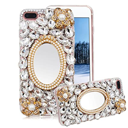 88851681ed083 For iPhone 8 Plus/7 Plus Case Bling, Aearl Crystal Glitter Full Diamond  Shiny Rhinestone Gems Pearl Makeup Mirror Clear Cover Hard PC Acrylic Soft  ...