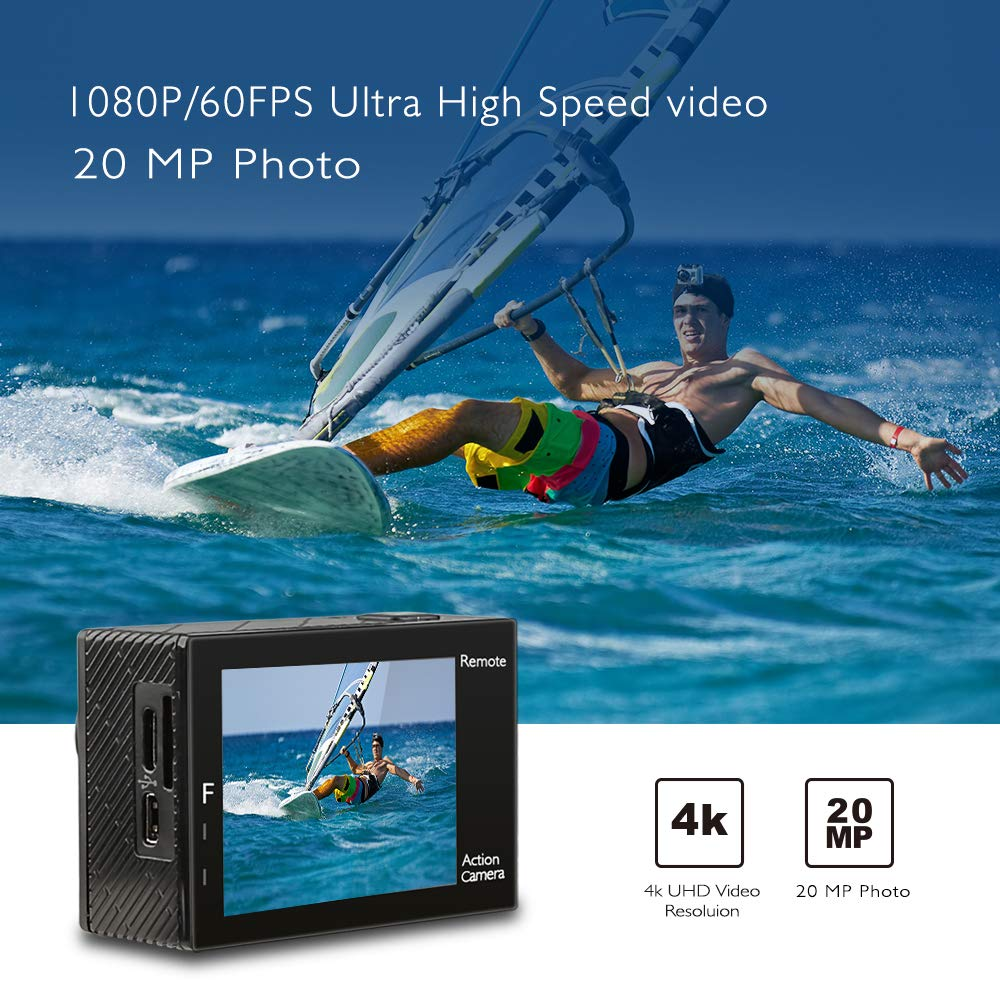 AKASO Brave 4 4K 20MP WiFi Action Camera Ultra HD with EIS 30m Underwater Waterproof Camera Remote Control 5X Zoom Underwater Camcorder with 2 Batteries and Helmet Accessories Kit