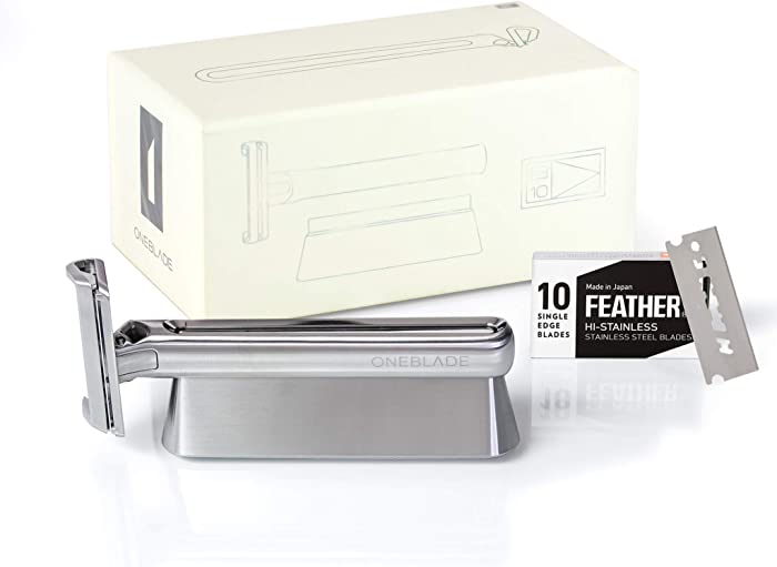 OneBlade Genesis Award-Winning Single-Blade Safety Razor w/Stand +10 Feather Blades | Well-Balanced for The Ultimate Shaving Experience | Obsessively Engineered & Crafted of German Stainless Steel