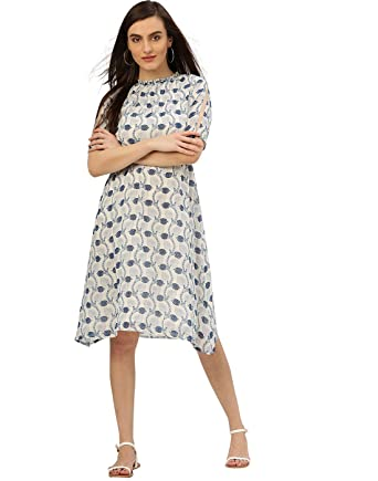2f43bd60d068 Jaipur Kurti Women Casual Top Tunic Summer Floral Georgette Dress (Off-White  & Blue): Amazon.co.uk: Clothing