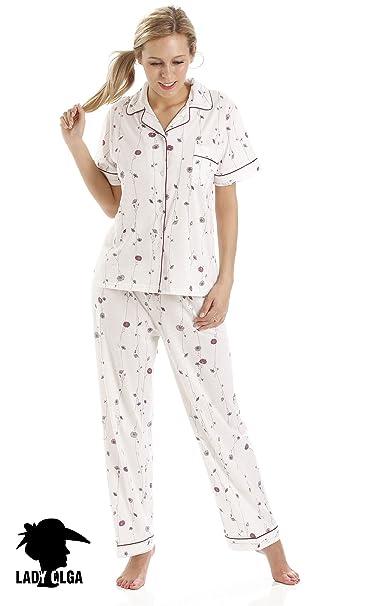 Señoras de la manga de señora Olga Jersey Short Pijamas 498 Flor Imprimir: Amazon.es: Ropa y accesorios