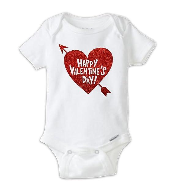 Amazon Com Happy Valentine S Day Red Glitter Baby Bodysuit